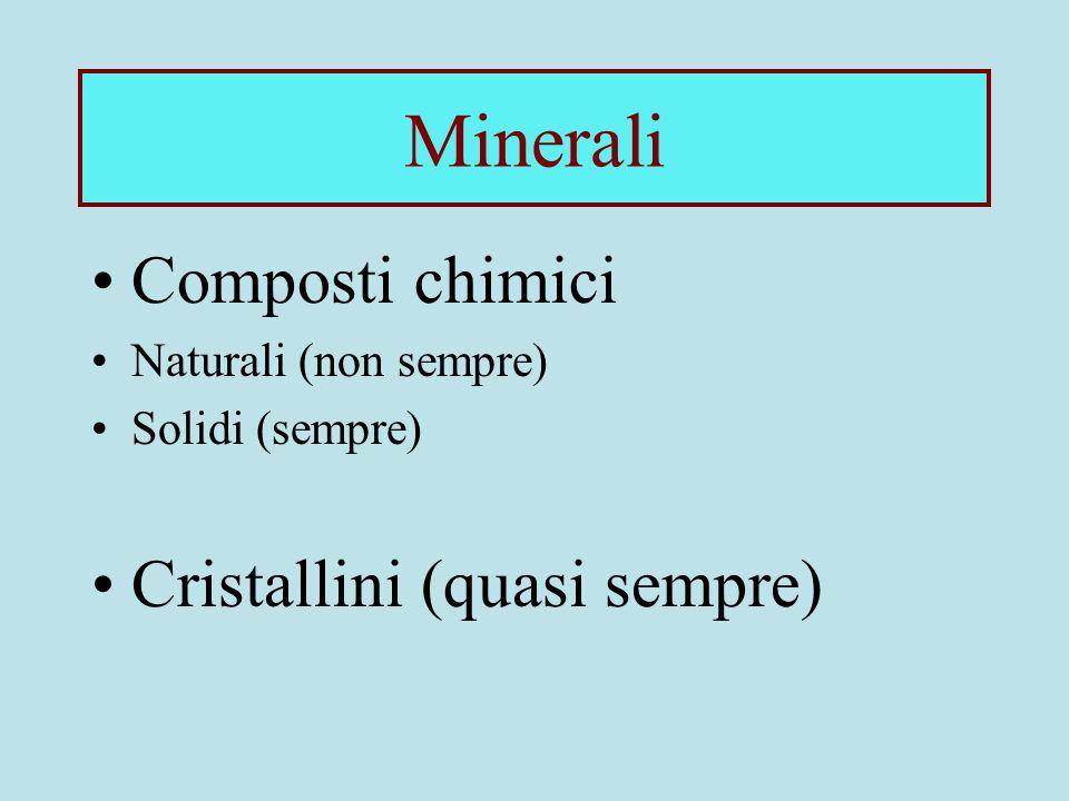 Minerali Composti chimici Cristallini (quasi sempre)