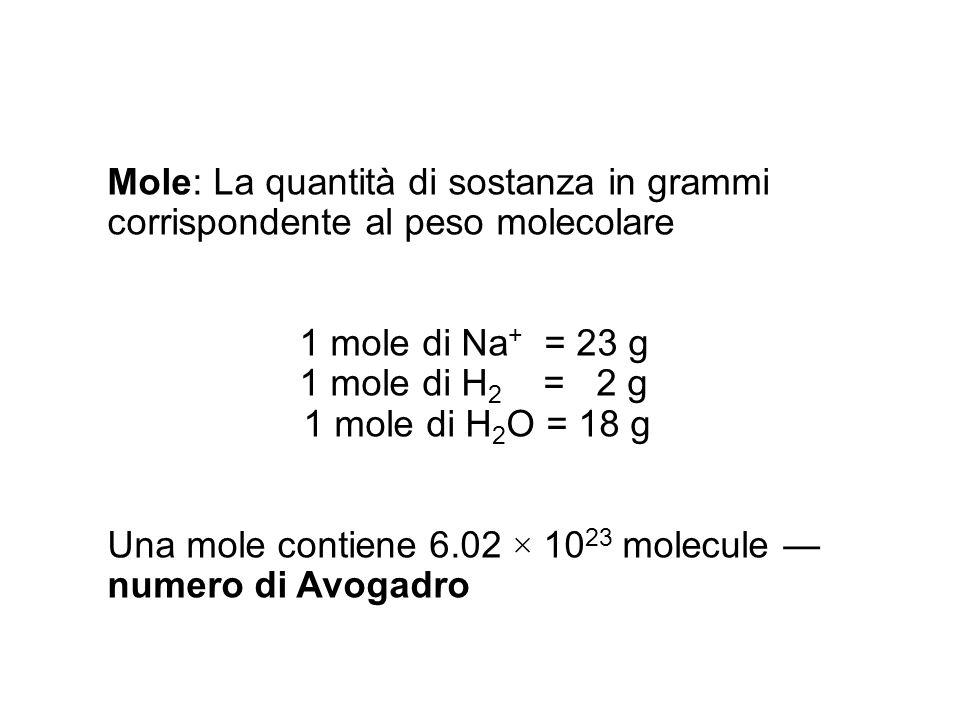 Mole: La quantità di sostanza in grammi corrispondente al peso molecolare