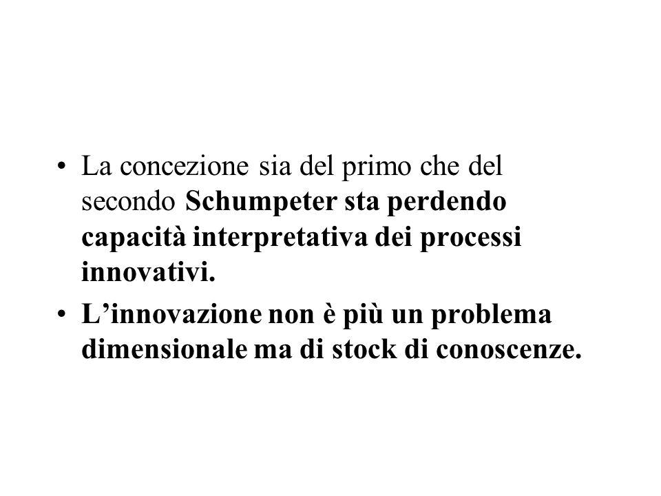 La concezione sia del primo che del secondo Schumpeter sta perdendo capacità interpretativa dei processi innovativi.