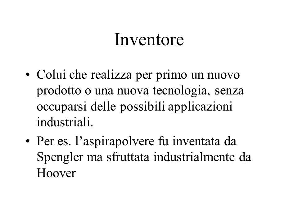 Inventore Colui che realizza per primo un nuovo prodotto o una nuova tecnologia, senza occuparsi delle possibili applicazioni industriali.
