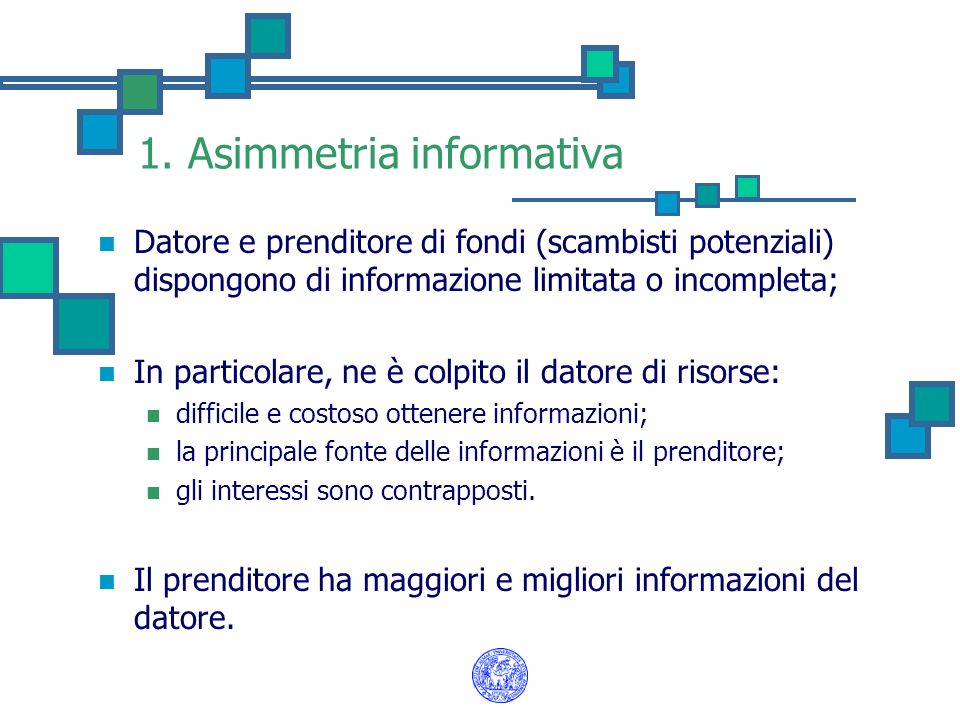 1. Asimmetria informativa