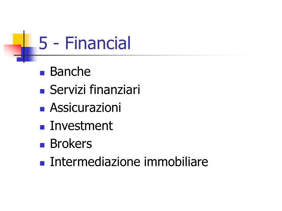 5 - Financial Banche Servizi finanziari Assicurazioni Investment