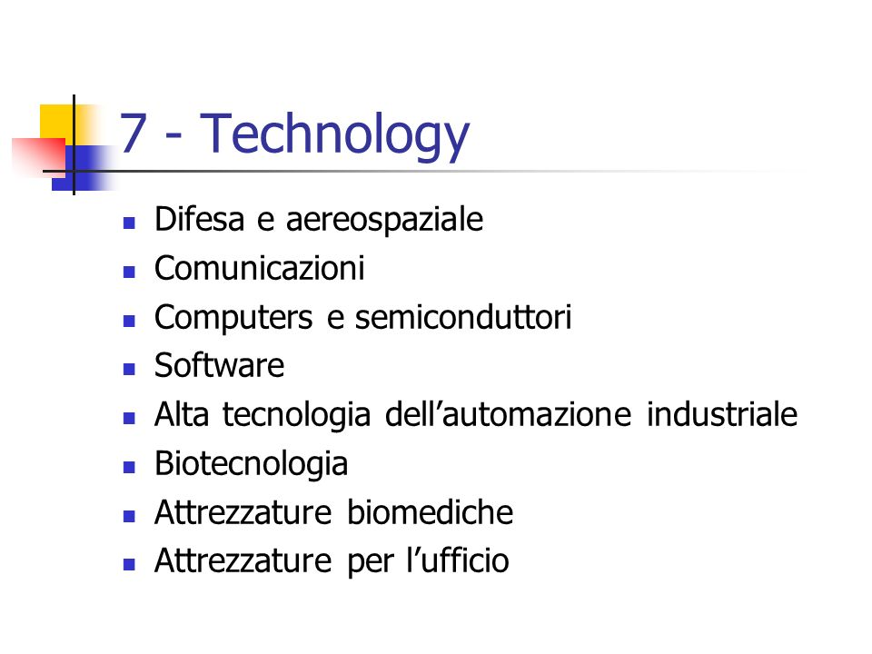 7 - Technology Difesa e aereospaziale Comunicazioni