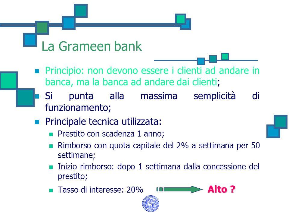 La Grameen bank Principio: non devono essere i clienti ad andare in banca, ma la banca ad andare dai clienti;