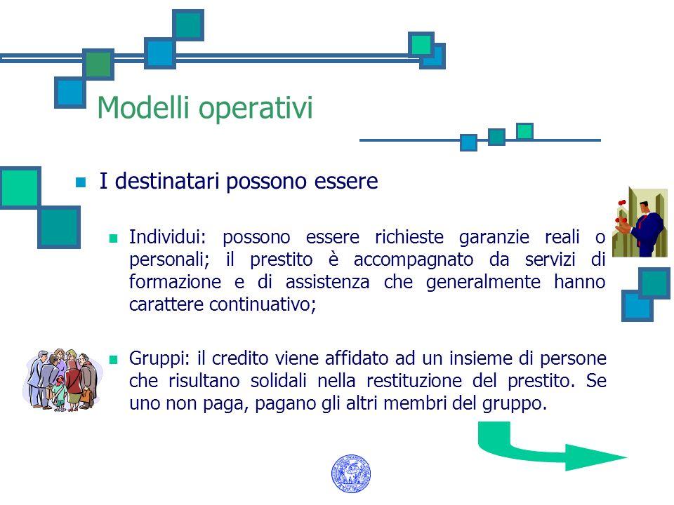 Modelli operativi I destinatari possono essere