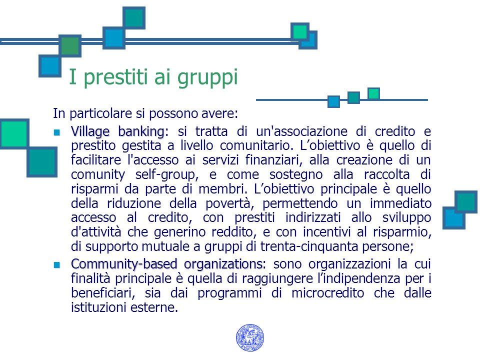 I prestiti ai gruppi In particolare si possono avere: