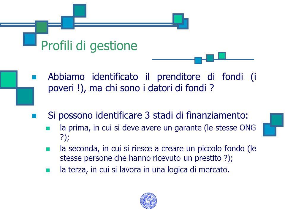 Profili di gestione Abbiamo identificato il prenditore di fondi (i poveri !), ma chi sono i datori di fondi