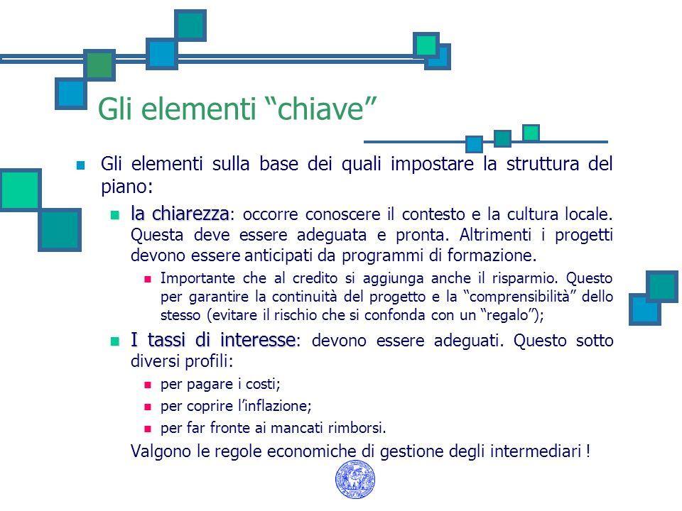 Gli elementi chiave Gli elementi sulla base dei quali impostare la struttura del piano: