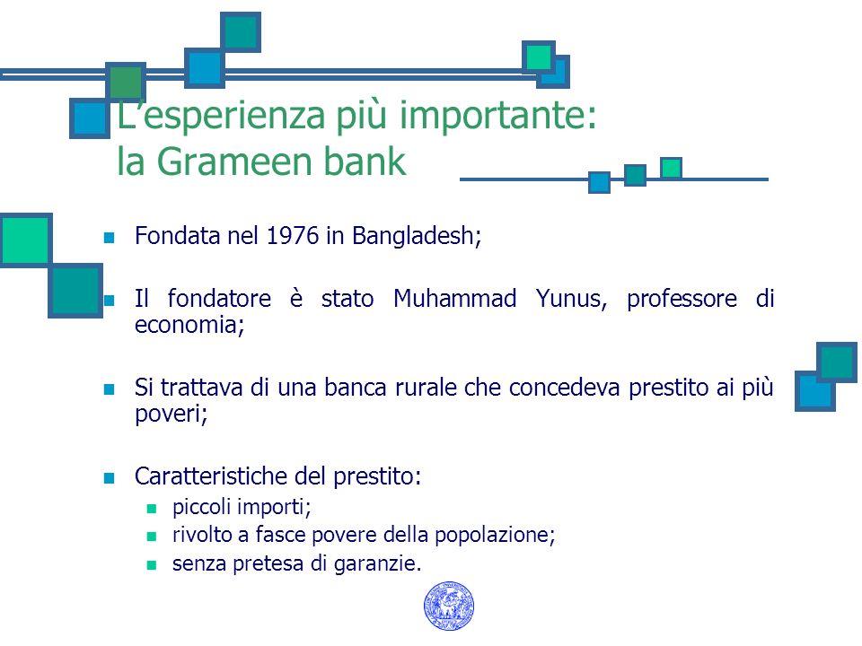 L'esperienza più importante: la Grameen bank