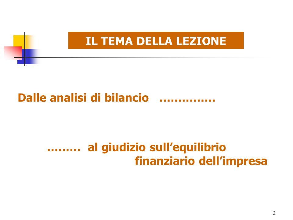 IL TEMA DELLA LEZIONE Dalle analisi di bilancio …………… ……… al giudizio sull'equilibrio finanziario dell'impresa.