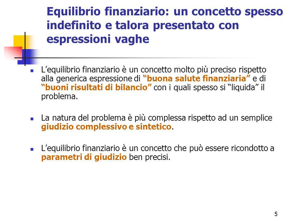 Equilibrio finanziario: un concetto spesso indefinito e talora presentato con espressioni vaghe