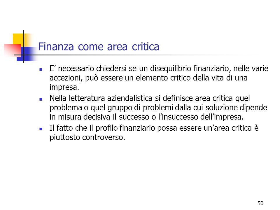 Finanza come area critica