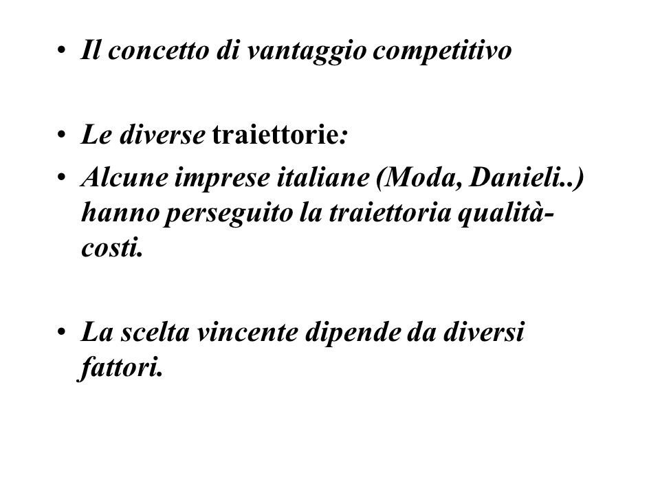 Il concetto di vantaggio competitivo