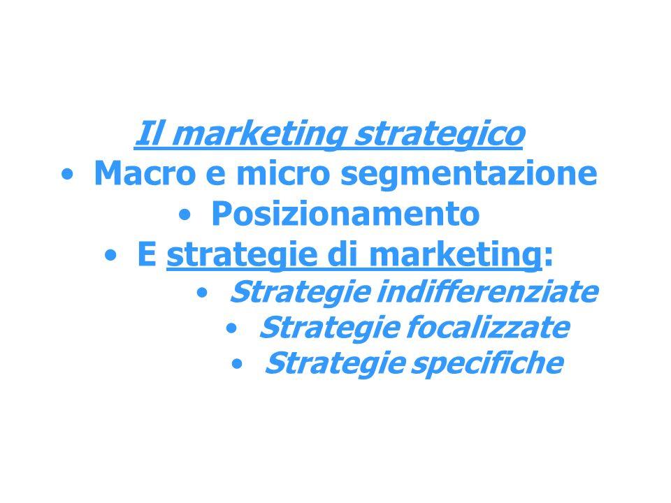 Il marketing strategico Macro e micro segmentazione Posizionamento
