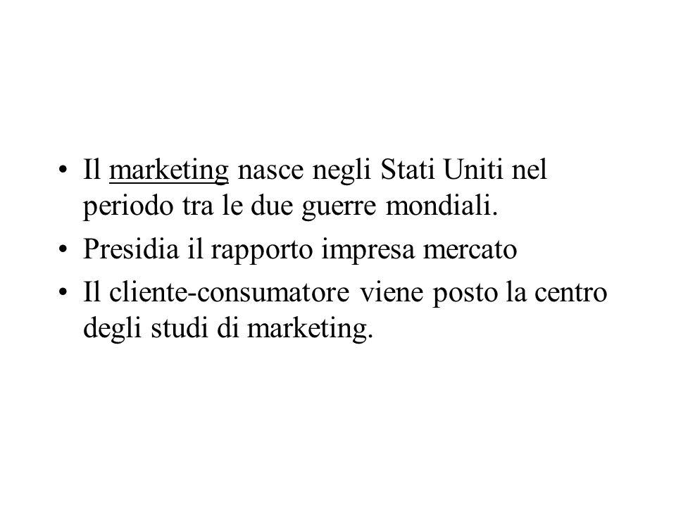 Il marketing nasce negli Stati Uniti nel periodo tra le due guerre mondiali.