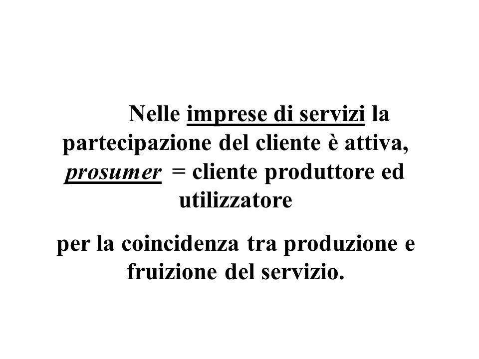 per la coincidenza tra produzione e fruizione del servizio.