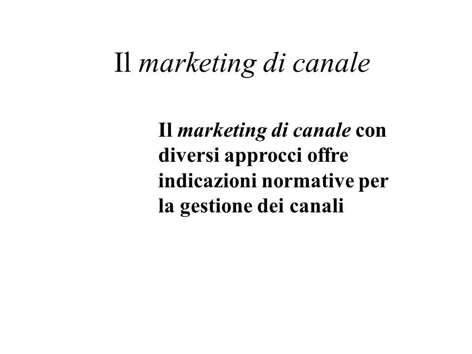 Il marketing di canale Il marketing di canale con diversi approcci offre indicazioni normative per la gestione dei canali.