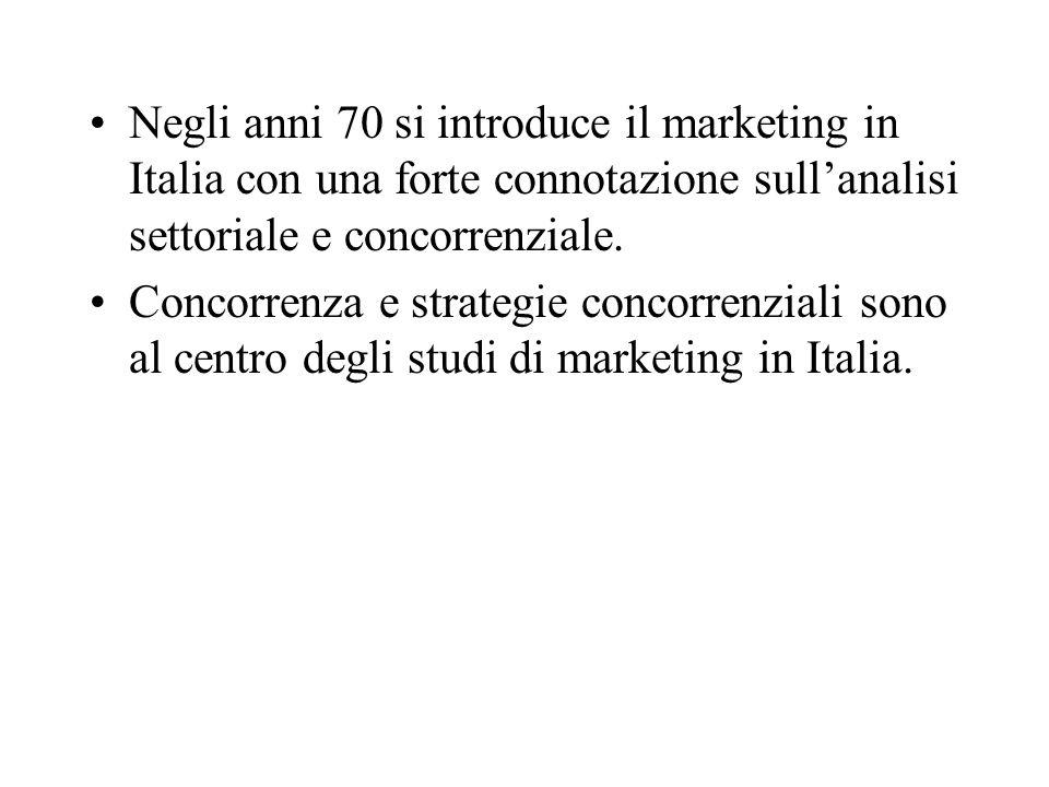 Negli anni 70 si introduce il marketing in Italia con una forte connotazione sull'analisi settoriale e concorrenziale.