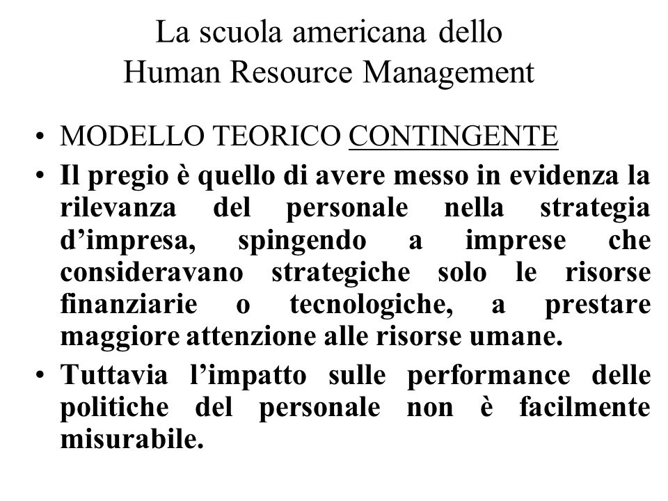 La scuola americana dello Human Resource Management