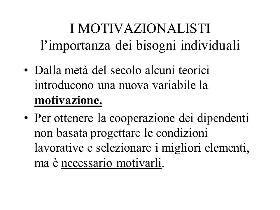 I MOTIVAZIONALISTI l'importanza dei bisogni individuali