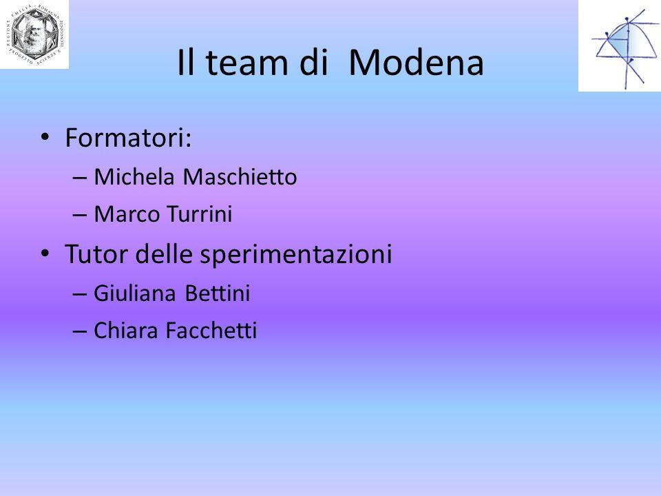 Il team di Modena Formatori: Tutor delle sperimentazioni