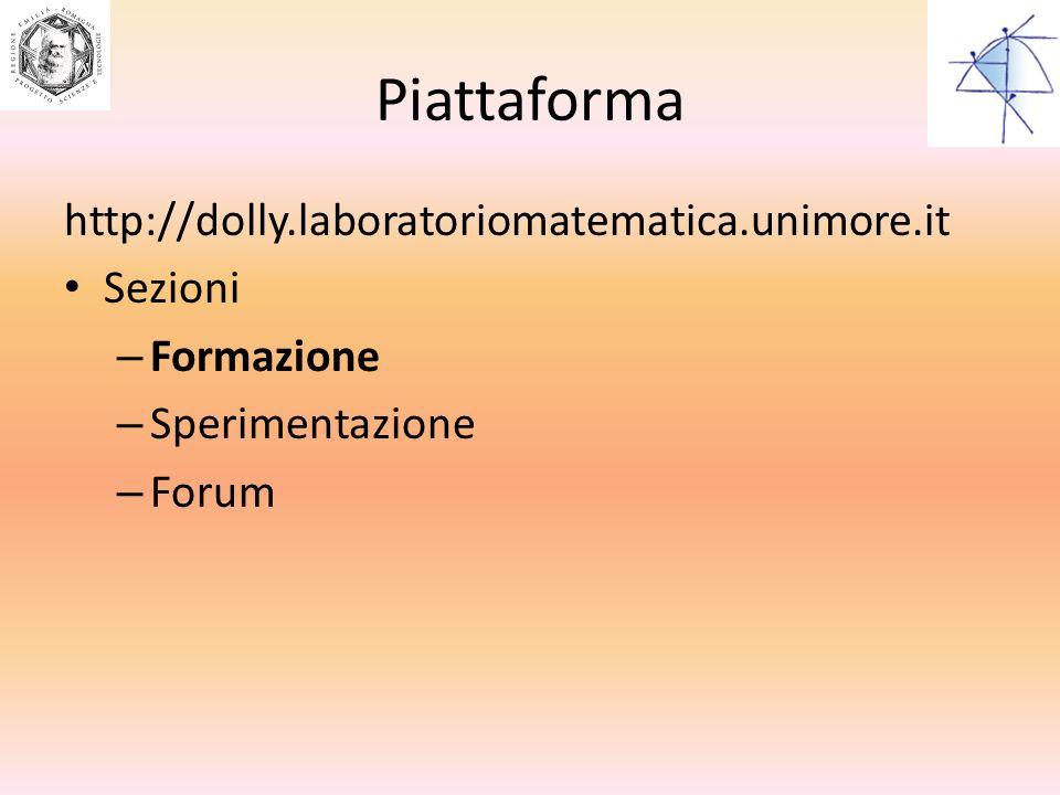 Piattaforma http://dolly.laboratoriomatematica.unimore.it Sezioni