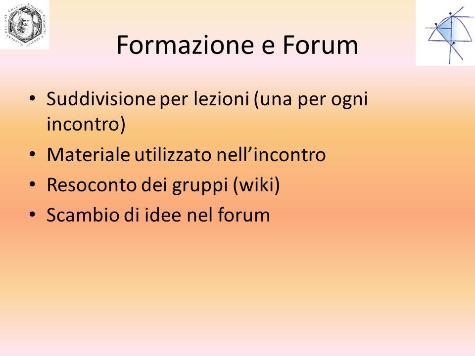 Formazione e Forum Suddivisione per lezioni (una per ogni incontro)