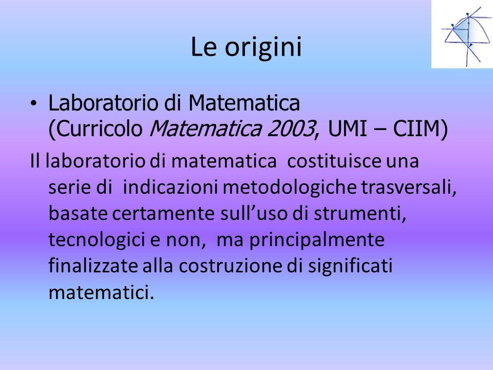 Le origini Laboratorio di Matematica (Curricolo Matematica 2003, UMI – CIIM)