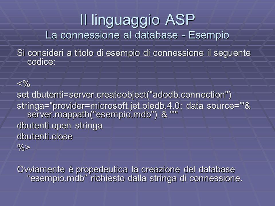 Il linguaggio ASP La connessione al database - Esempio