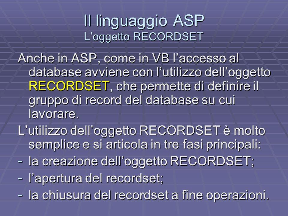 Il linguaggio ASP L'oggetto RECORDSET