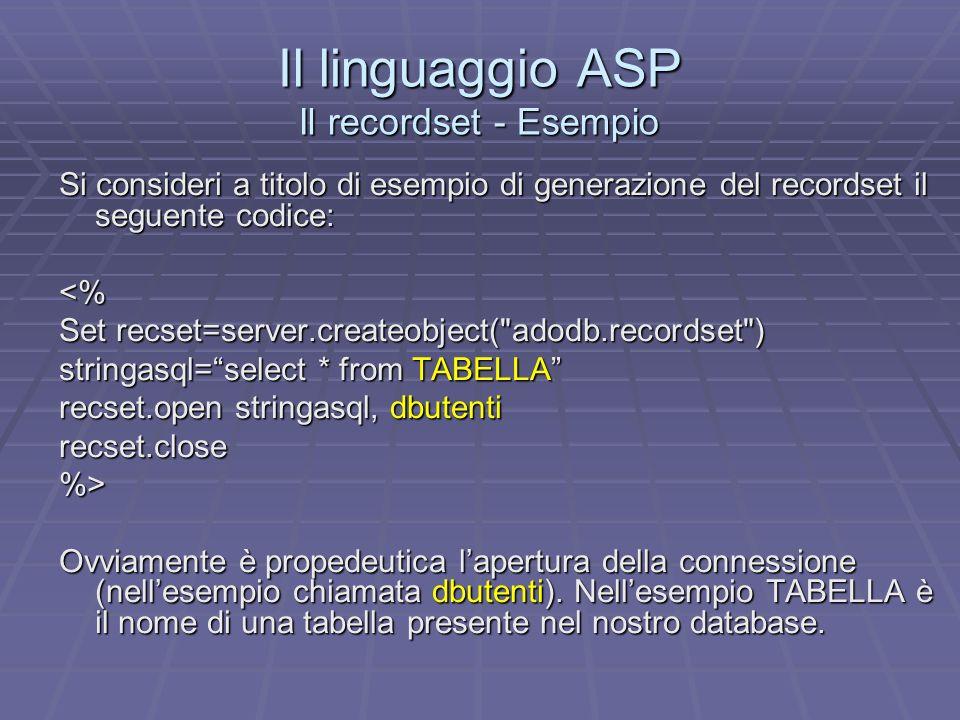 Il linguaggio ASP Il recordset - Esempio