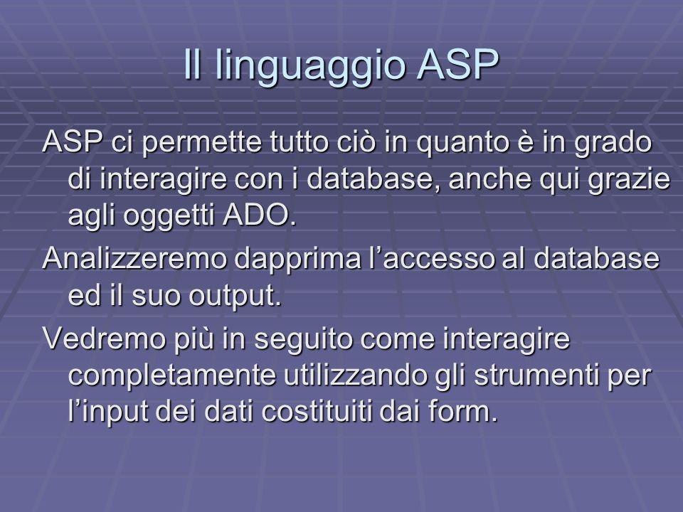 Il linguaggio ASP ASP ci permette tutto ciò in quanto è in grado di interagire con i database, anche qui grazie agli oggetti ADO.