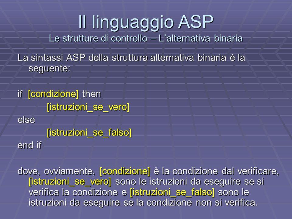 Il linguaggio ASP Le strutture di controllo – L'alternativa binaria