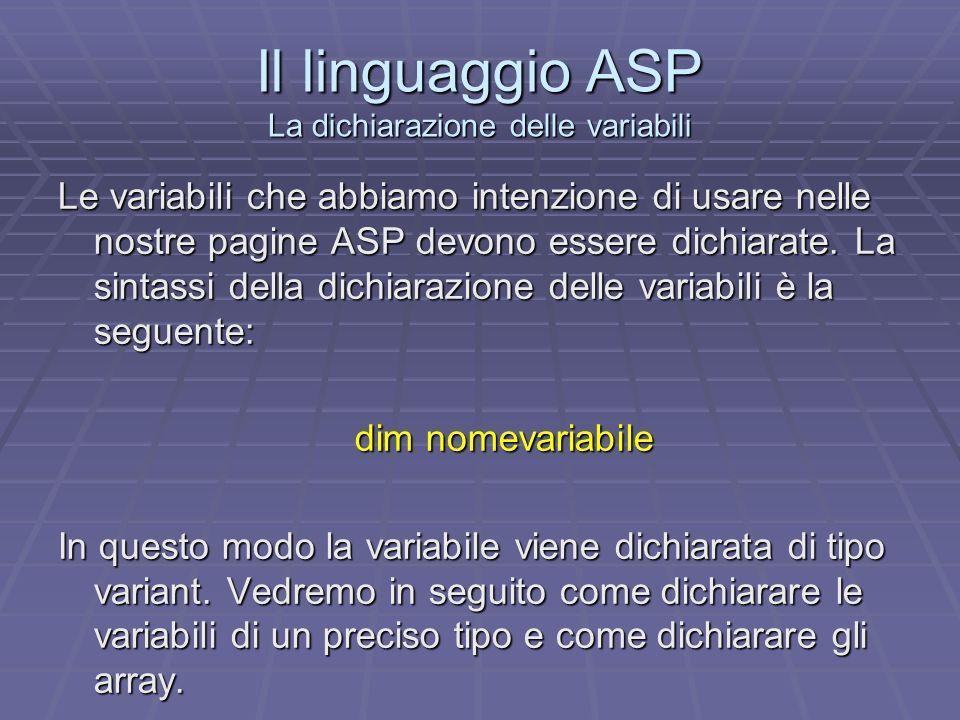 Il linguaggio ASP La dichiarazione delle variabili