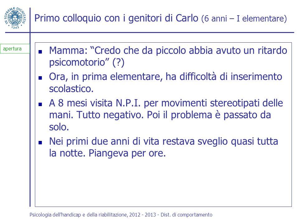 Primo colloquio con i genitori di Carlo (6 anni – I elementare)
