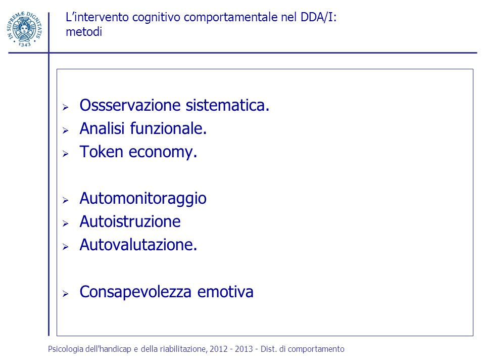 L'intervento cognitivo comportamentale nel DDA/I: metodi