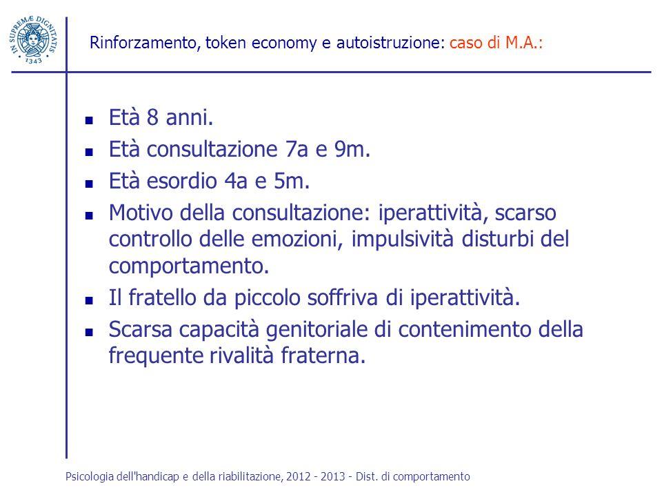 Rinforzamento, token economy e autoistruzione: caso di M.A.: