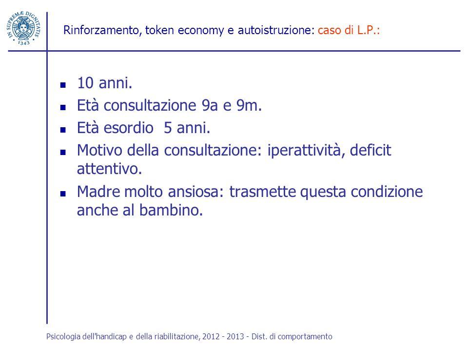 Rinforzamento, token economy e autoistruzione: caso di L.P.: