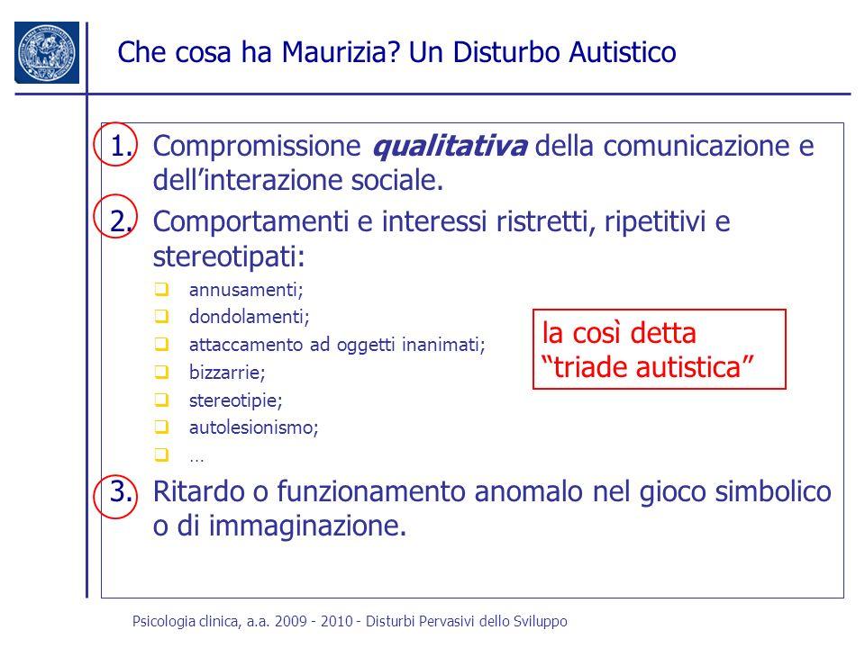 Che cosa ha Maurizia Un Disturbo Autistico
