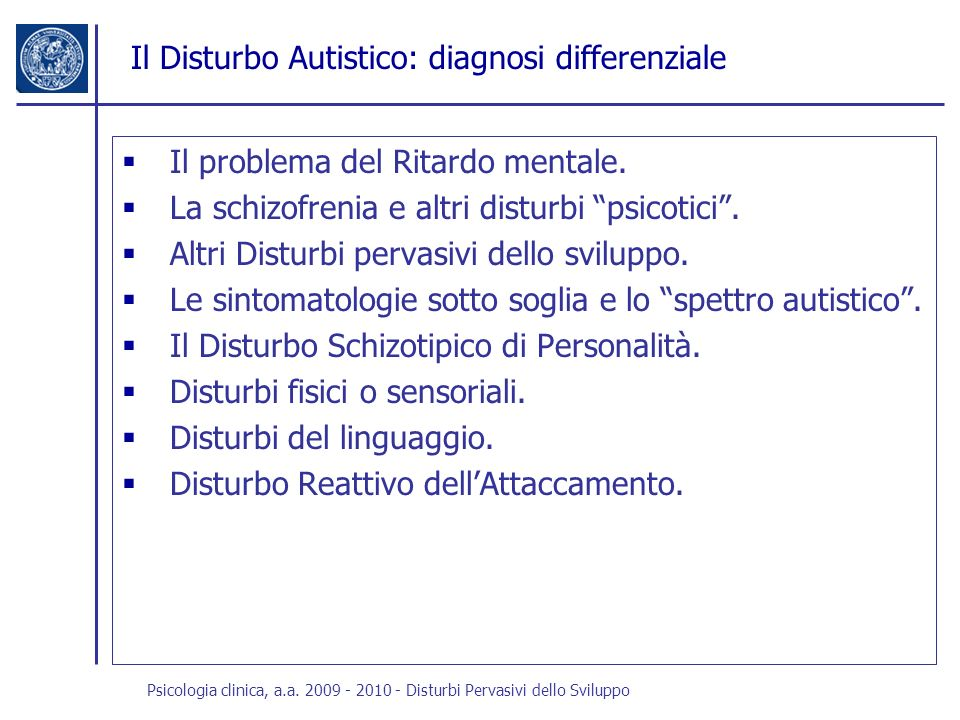 Il Disturbo Autistico: diagnosi differenziale