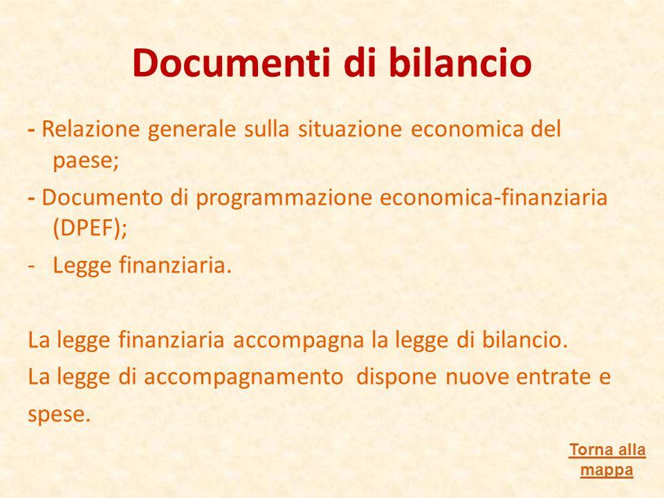 Documenti di bilancio - Relazione generale sulla situazione economica del paese; - Documento di programmazione economica-finanziaria (DPEF);