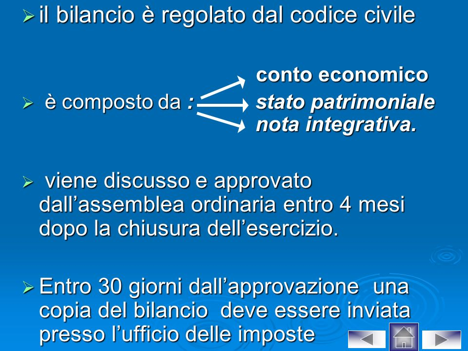 il bilancio è regolato dal codice civile