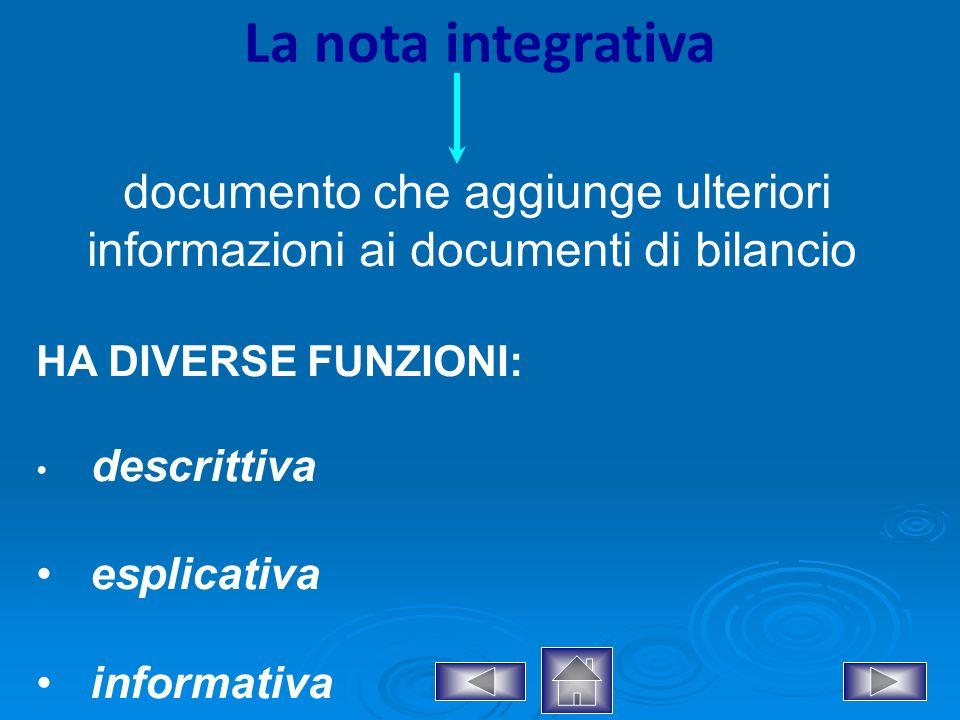 documento che aggiunge ulteriori informazioni ai documenti di bilancio