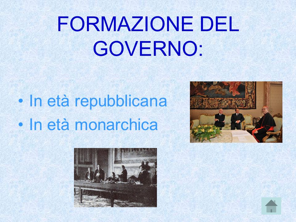 FORMAZIONE DEL GOVERNO: