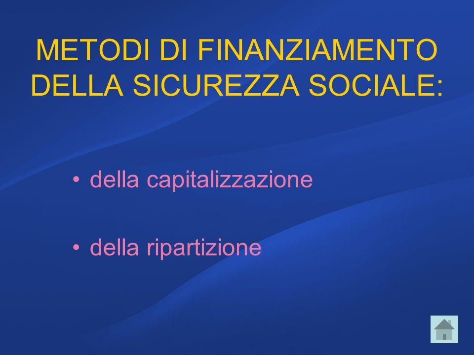 METODI DI FINANZIAMENTO DELLA SICUREZZA SOCIALE: