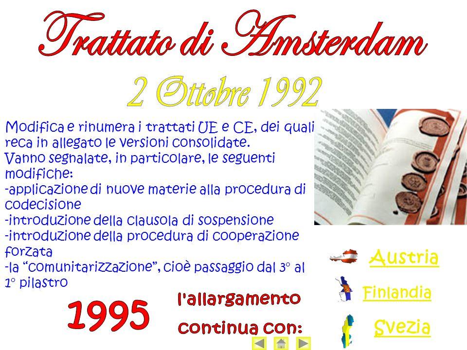 Trattato di Amsterdam 2 Ottobre 1992 1995 Austria l allargamento