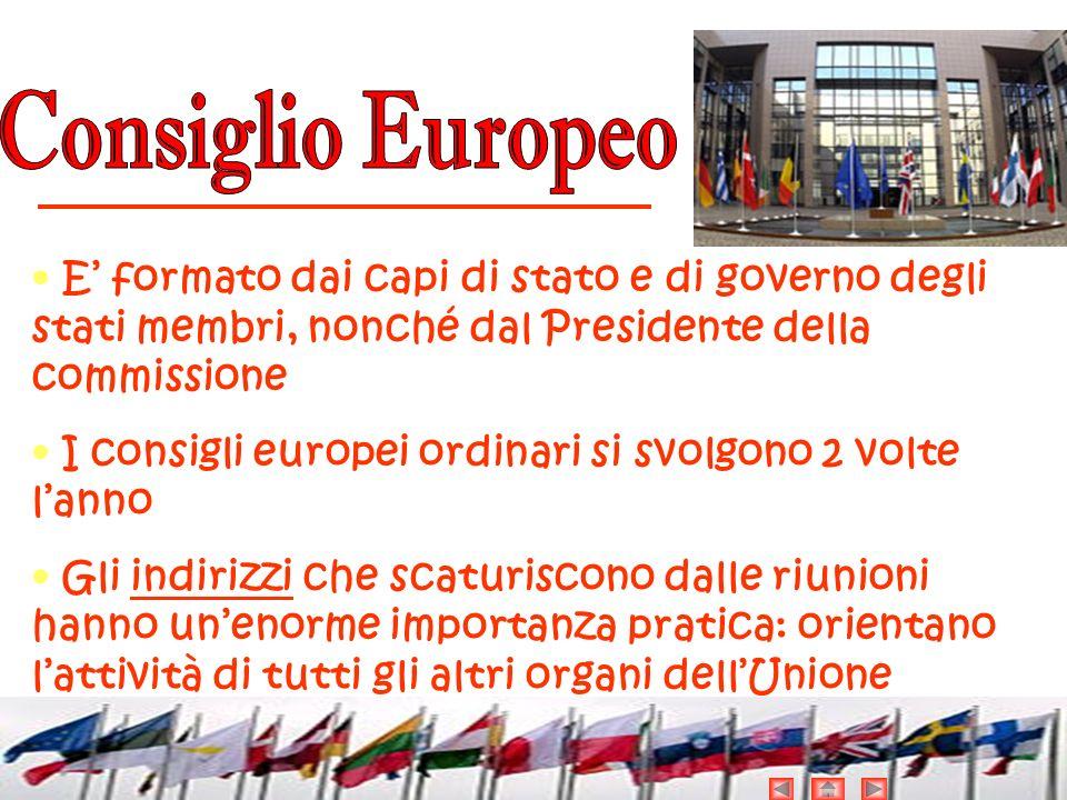 Consiglio Europeo • E' formato dai capi di stato e di governo degli stati membri, nonché dal Presidente della commissione.