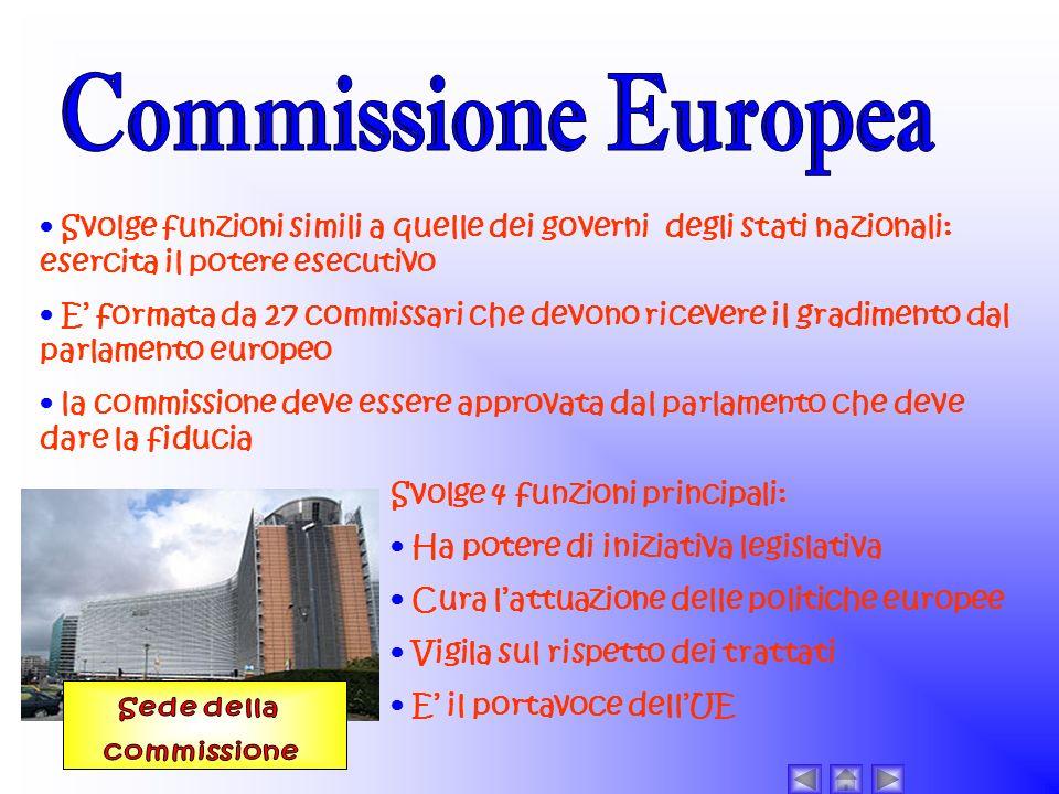 Commissione Europea • Svolge funzioni simili a quelle dei governi degli stati nazionali: esercita il potere esecutivo.