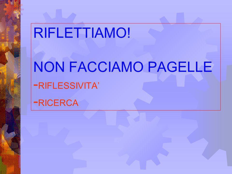 RIFLETTIAMO! NON FACCIAMO PAGELLE -RIFLESSIVITA' -RICERCA