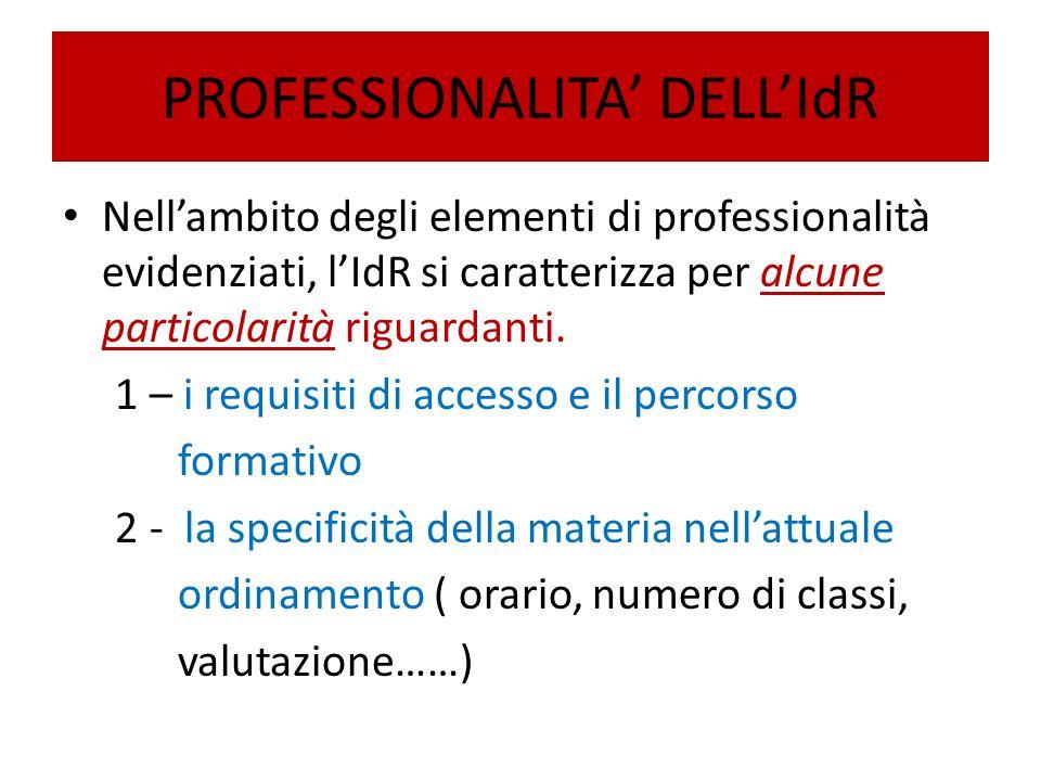 PROFESSIONALITA' DELL'IdR